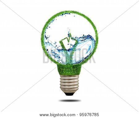 Green Grass Light Bulb With Water Inside.