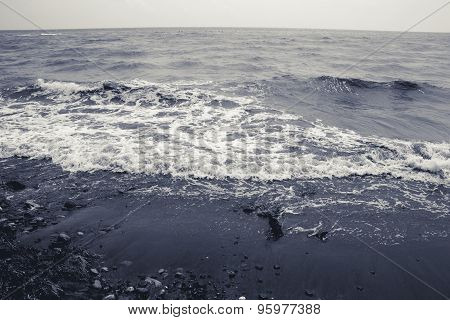 Landscape By The Sea, Choppy Water, Monochrome Toned
