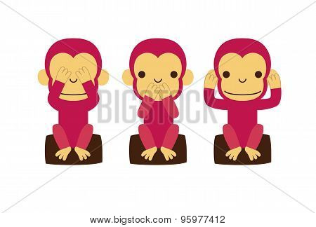 Monkey See no evil hear no evil speak no evil poster