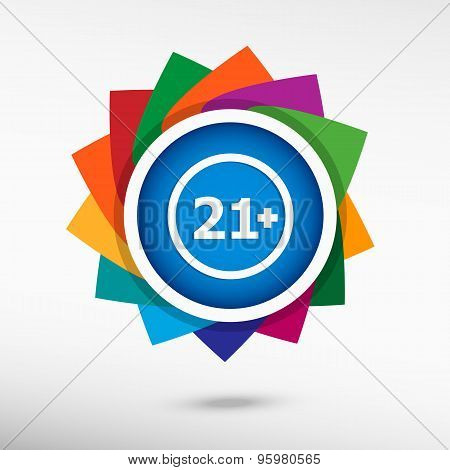 21 Plus Years Old Sign. Adults Content Color Icon, Vector Illustration