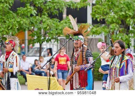 Indians Of South America Play Ethnic Music