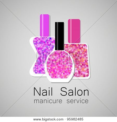 Nail Salon logo. Nail polish - a symbol of manicure. Design sign - nail care. poster