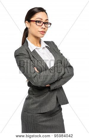 Woman In Business Suit Looking To Camera