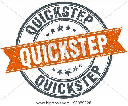 Quickstep Round Orange Grungy Vintage Isolated Stamp