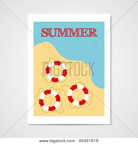 Summer Poster With Lifebouy.