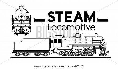 line drawing of a steam locomotive
