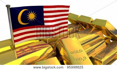 Malaysian national economy concept with gold bullion on white background poster