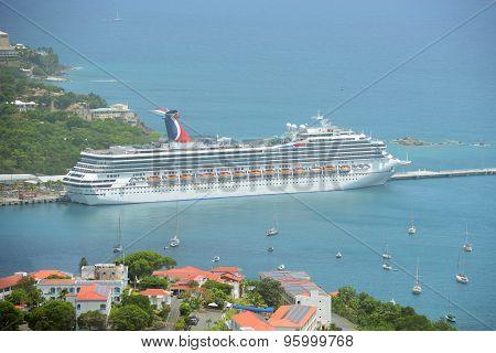 Cruise Ship Carnival Valor in Saint Thomas