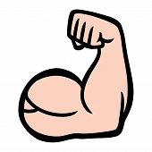 A cartoon style vector illustration of a muscular arm flexing in a bodybuilder pose poster