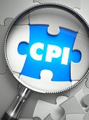 CPI - Consumer Price Index - Puzzle with Missing Piece through Loupe. 3d Illustration with Selective Focus. poster
