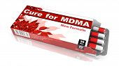 Cure for MDMA - Red Open Blister Pack Tablets Isolated on White. poster