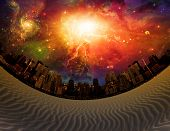 High Resolution Desert City with deep cosmic sky poster