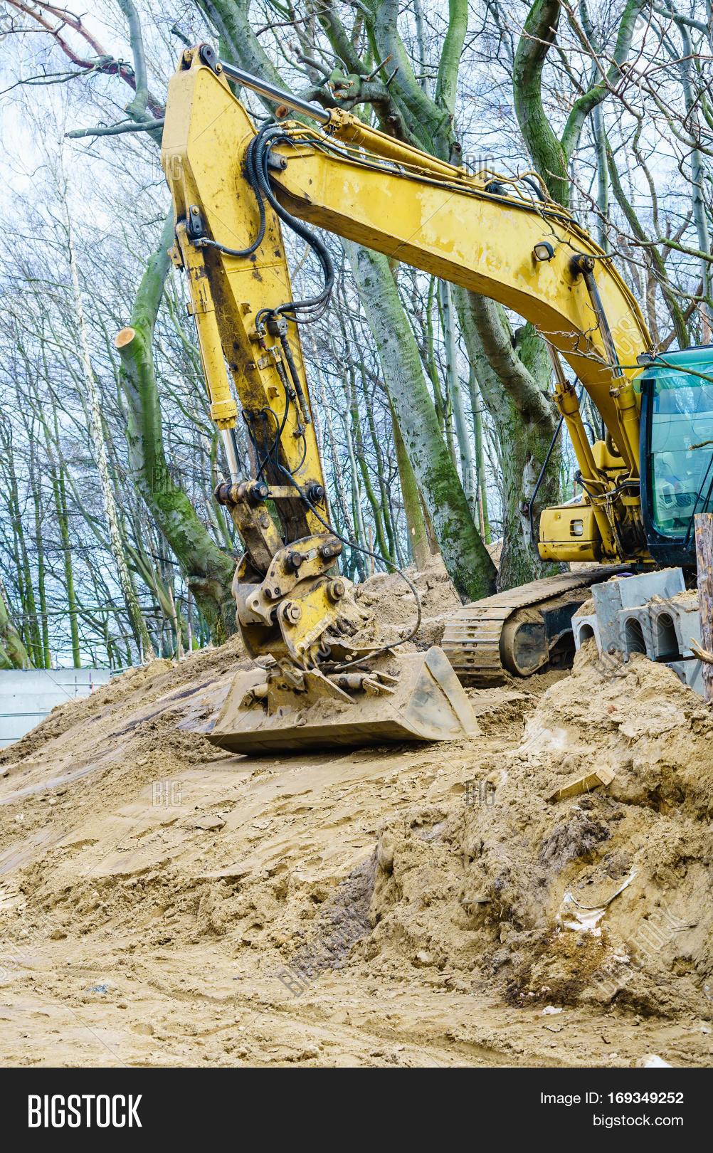 Yellow Excavator Dig Image & Photo (Free Trial)   Bigstock