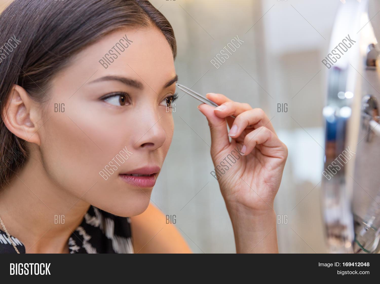 Asian Woman Plucking Image Photo Free Trial Bigstock