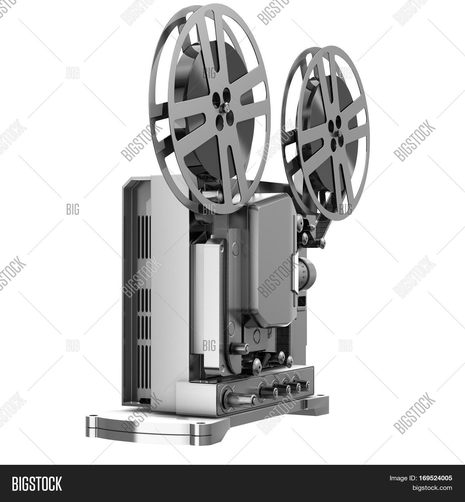 Old Cinema Projector Vintage Movie Or Video Concept 3d Rendering Isolated On White Background