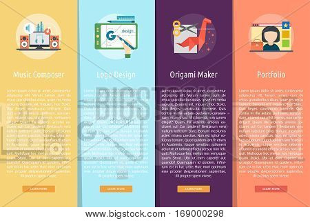 Creative Process Vertical Banner Concept | Set of great vertical banner flat design illustration concepts for business, creative idea, concept, marketing and much more.