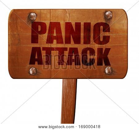 panic attack, 3D rendering, text on wooden sign