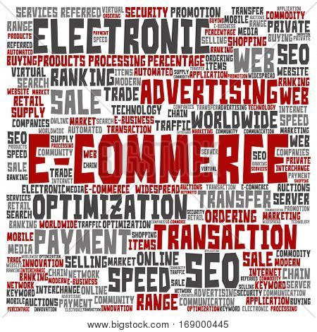 Concept or conceptual E-commerce electronic sales square word cloud isolated on background metaphor to seo, optimization, transaction, web advertising, e-business, technology, worldwide supply