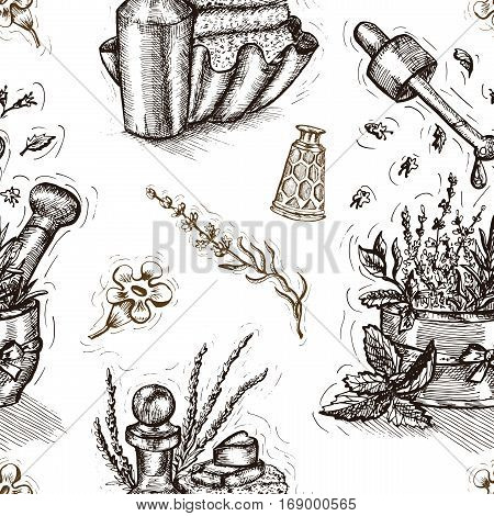 Seamless pattern with lavender, perfume bottle and herbal cosmetic compositions on white. Hand drawn engraved illustration. Concept of beauty product packaging. Vector design elements