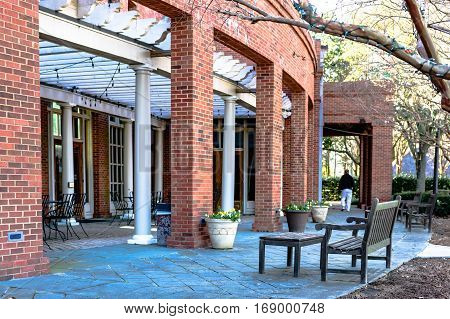 Montgomery Alabama USA - January 28 2017: Patio outdoor seating for a cafe at the Alabama Shakespeare Festival.