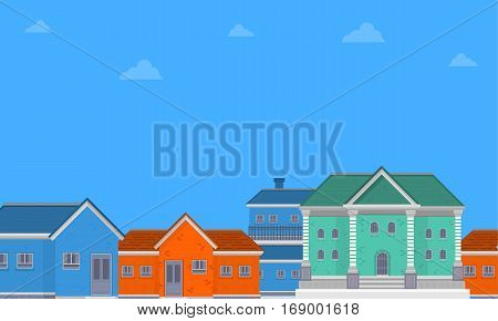 House city landscape of vector flat collection stock