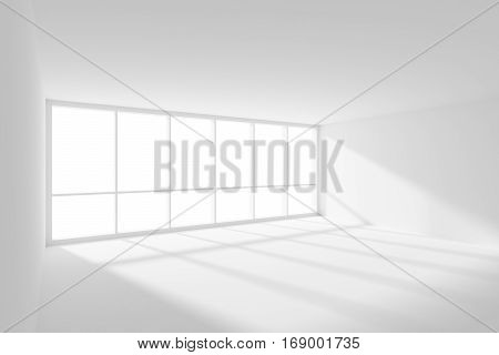 Business architecture white colorless office room interior - white empty business office room with white floor ceiling and walls and sun light from wide large window 3d illustration