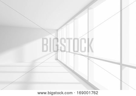 Business architecture white colorless office room interior - empty white business office room with white floor ceiling and walls and sunlight from large window 3d illustration closeup.
