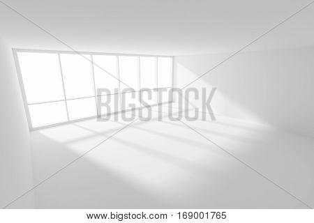 Business architecture white colorless office room interior - empty white business office room with white floor ceiling and walls and sunlight from large window 3d illustration wide angle.