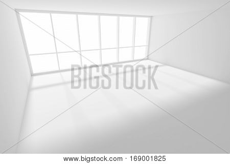 Business architecture white colorless office room interior - empty white business office room with white floor ceiling and walls and sun-light from large window 3d illustration.
