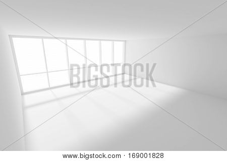Business architecture white colorless office room interior - white empty office room with white floor ceiling and walls and sunlight from large window 3d illustration