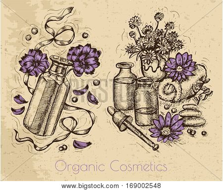 Graphic set with flowers, perfume bottles and herbal cosmetic still life on textured background. Hand drawn engraved illustration. Natural cosmetics ingredients, vintage design