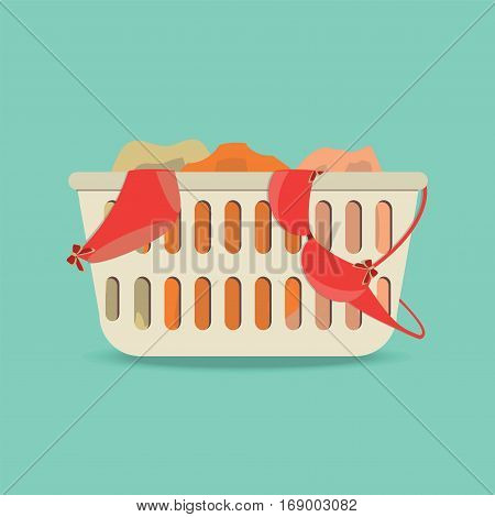 Laundry basket with underwear and dirty clothes Flat style icon vector illustration.