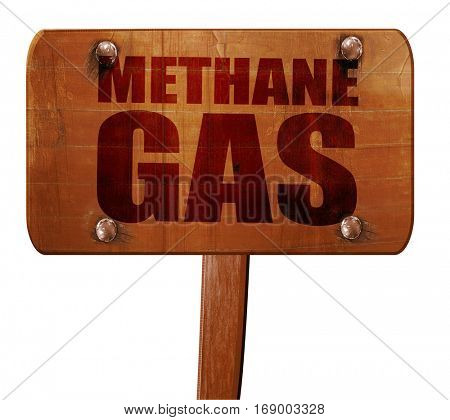 methane gas, 3D rendering, text on wooden sign