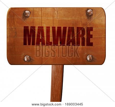 Malware computer background, 3D rendering, text on wooden sign