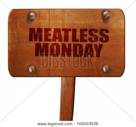 meatless monday, 3D rendering, text on wooden sign