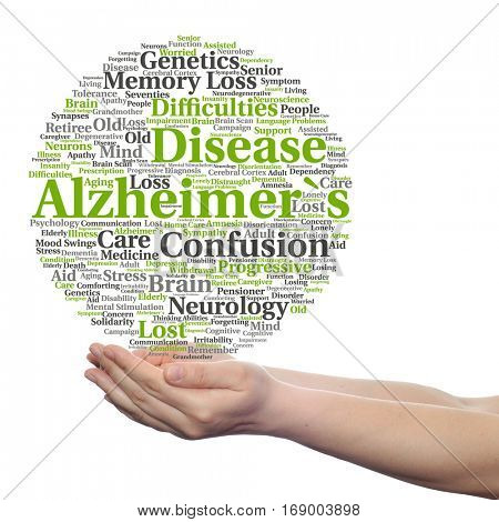 Concept conceptual Alzheimer`s disease symptoms abstract word cloud held in hands isolated on background for care, loss, caregiving, aging, resistance, neurology, old, language, motor resistance