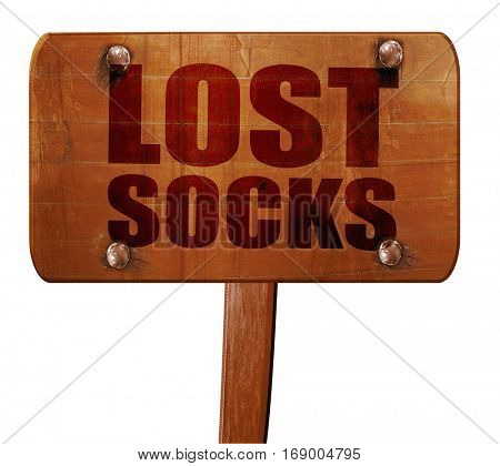 lost socks, 3D rendering, text on wooden sign