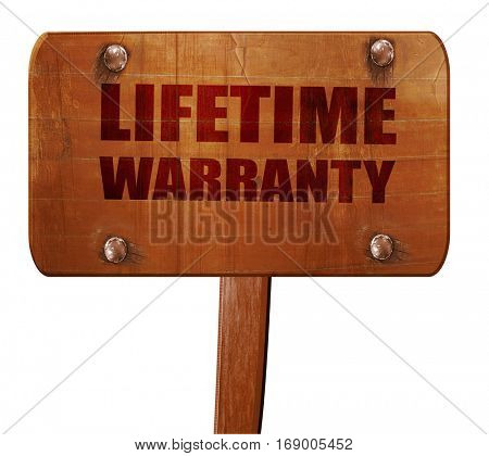 lifetime warranty, 3D rendering, text on wooden sign
