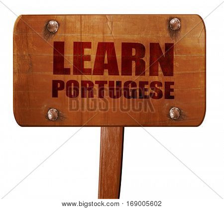 learn portugese, 3D rendering, text on wooden sign