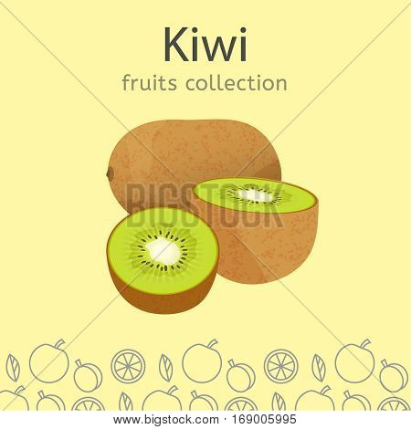 Ripe kiwi on a light background. Fruits collection. Vector illustration.
