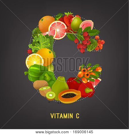 High vitamin C foods. Healthy fruits, berries and vegetables in a shape of the letter. Vector illustration in bright colours on a dark grey background.