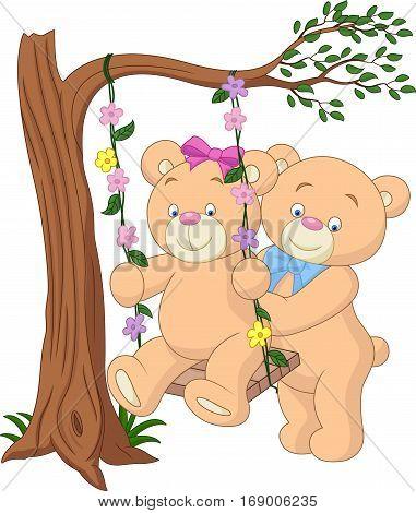 Vector illustration of Cartoon bear couple on tree branch