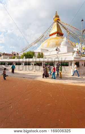 Boudhanath Stupa Stormy Clouds People Walking V