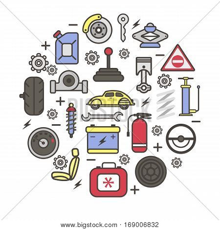 Car spare parts and details of gear, motor engine, wheel tire pump, accumulator, driver chair and speedometer. Vector auto service poster of cogwheel and spark plug, gasoline can and ignition key