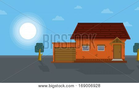 At morning house scenery vector art collection stock