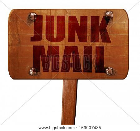 junk mail, 3D rendering, text on wooden sign