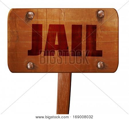 jail, 3D rendering, text on wooden sign