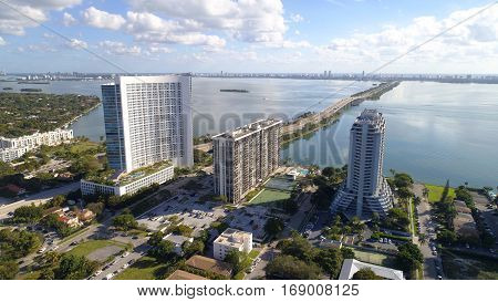 Aerial drone photo of Edgewater Miami and views of Biscayne Bay