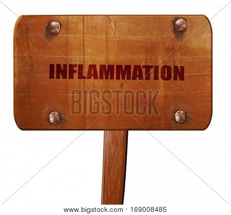 inflammation, 3D rendering, text on wooden sign