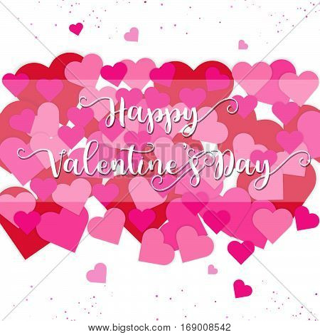 Happy Valentine's Day card with pink and red hearts on white background